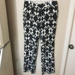 LOFT Black & White Linen Marisa Trouser